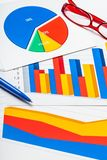 Pen and Eyeglasses on Business Graphs and Charts. Business charts bar chart data analysis financial chart research analysis closeup Royalty Free Stock Image