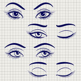 Pen female open and closed eyes. Ballpoint pen hand drawn female eyes. Vector open and closed eyes on notebook page stock illustration