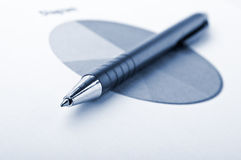 Pen and finance diagram Royalty Free Stock Images