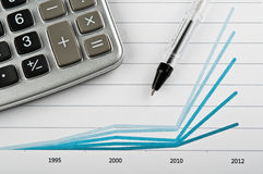 Pen and finance diagram. On a table in office royalty free stock photos