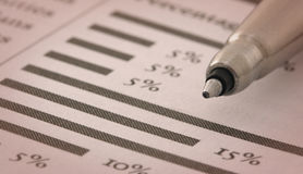 Pen on Financial Chart. Pen on Financial Printed Chart Royalty Free Stock Images