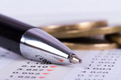 Pen on Financial Data Royalty Free Stock Photography