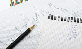 The pen and financial report Stock Photos