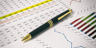 Pen on financial reports background. 3d illustration Stock Images