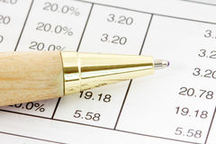 Pen on the financial spreadsheet Stock Images