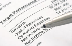 Pen on Financial Statement. A pen is pointing at the word Net Income Royalty Free Stock Photo