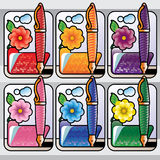 Pen and folder with flower Stock Images