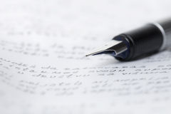 Pen fountain and letter Royalty Free Stock Photography