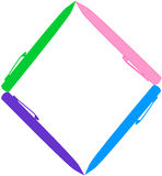 Pen frame/border. Colorful pen frame/border in white background Royalty Free Stock Photos