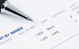 Pen on the future contract Royalty Free Stock Photo