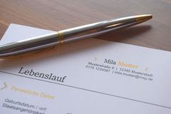 Pen on a German business document royalty free stock photo