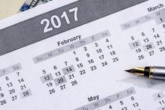 Pen gezet op de kalender van 2017 Royalty-vrije Stock Fotografie