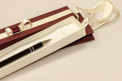 Pen in gift box Royalty Free Stock Images