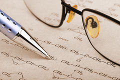 Pen and glasses Royalty Free Stock Photography