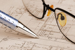 Pen and glasses Royalty Free Stock Photos