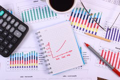 Pen, glasses, calculator and cup of coffee on financial graph, business concept Stock Photos