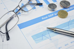 Pen and glasses on financial chart and graph, accounting backgro Royalty Free Stock Photo
