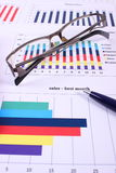 Pen and glasses on financial graph, business concept Royalty Free Stock Photo