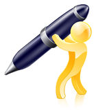 Pen gold person Royalty Free Stock Image
