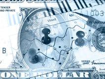 Pen, grafiek en papier-spelden (in blauw) Royalty-vrije Stock Foto's