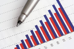 Pen on Graph. Pen on Positive Earning Graph Stock Photo