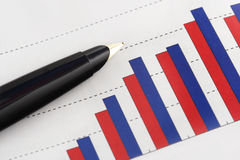 Pen on Graph Stock Photos