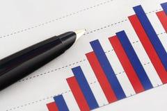 Pen on Graph. Pen on Positive Earning Graph Stock Photos
