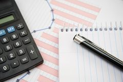 Office supplies for use in financial matters Royalty Free Stock Photo