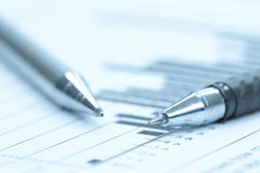 Pen on graph data Royalty Free Stock Photography