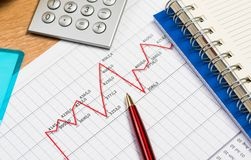 Pen and graph growth, workplace businessman Stock Image