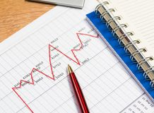 Pen and graph growth, workplace businessman Stock Photography