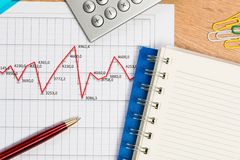 Pen and graph growth, workplace businessman Royalty Free Stock Photo