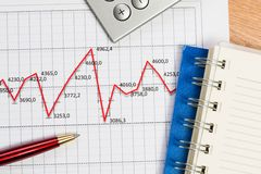 Pen and graph growth, workplace businessman Royalty Free Stock Images