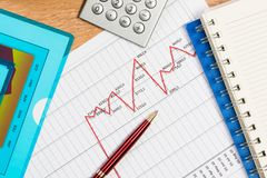 Pen and graph growth, workplace businessman Stock Images