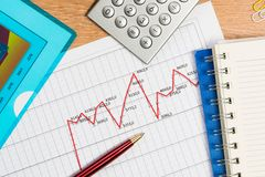 Pen and graph growth, workplace businessman Stock Photo