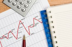 Pen and graph growth, workplace businessman Royalty Free Stock Photography