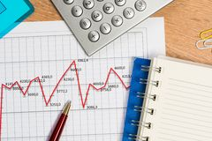 Pen and graph growth, workplace businessman Stock Photos