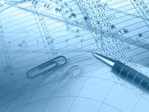 Pen, graph and rulers Royalty Free Stock Photography