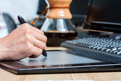 Pen and graphics tablet Royalty Free Stock Images