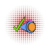 Pen and green checkmark icon, comics style Stock Photography