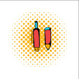 Pen gun comics icon. On a white background Royalty Free Stock Photo
