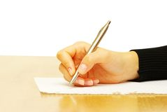 Pen in hand Stock Photography