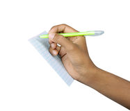 Pen with hand. Pen and paper  hand with clipping path Royalty Free Stock Image