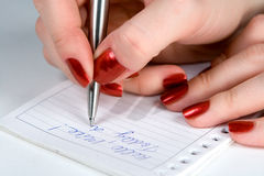 Pen in a hand. Women writes the letter to boyfriend Stock Images