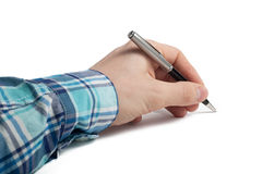 Pen in hand Stock Images