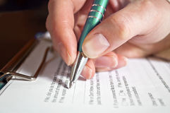 Pen in hand Stock Photos