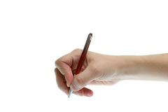 Pen in hand Stock Photo