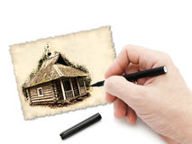 Pen in hand drawing old chapel Royalty Free Stock Photo