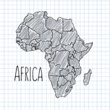 Pen hand drawn African map vector on paper Stock Images