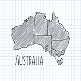 Pen hand drawn Australia map vector on paper Stock Images